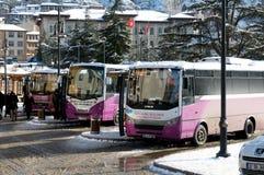 Kleine bussen in Kastamonu - Turkije royalty-vrije stock foto