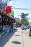 Kleine Cafés und Geschäfte auf dem thailändischen Stockbild