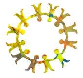 Kleine cirkel van diverse vrolijke plasticinemensen Stock Afbeelding