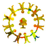 Kleine cirkel van diverse vrolijke plasticinemensen Stock Foto's