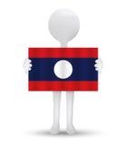 kleine 3d mens die een vlag van de Democratische Republiek van Lao People houden Royalty-vrije Stock Foto