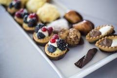 Kleine die cakes en snoepjes op een witte plaat worden gediend - Italiaanse stijl Stock Foto's
