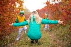 Kleine die jongen twee naar zijn moeder, in de de herfst zonnige dag in werking wordt gesteld stock foto's