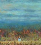 Kleine die kerk op de rand van bosolieverfschilderij wordt gevestigd stock foto