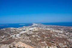 Kleine dorpen op eiland Santorini royalty-vrije stock foto's