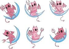 Kleine duivels op maan royalty-vrije illustratie