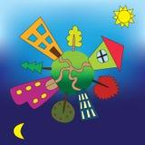 Kleine Eath met huizen en bomen Stock Afbeelding
