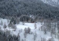 Kleine einsame Hütte in einem Gebirgswald Lizenzfreie Stockfotografie