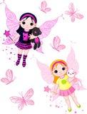 Kleine feeën die met vlinders vliegen Royalty-vrije Stock Foto's