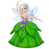 Kleine Fee elven Prinzessin, die auf weißem Hintergrund lokalisiert wird Vektorkarikatur-Nahaufnahmeillustration Lizenzfreie Stockbilder