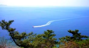 Kleine Fertigkeit in blauem Meer Lizenzfreie Stockfotografie