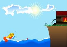 Kleine Fische, das Meer und Haus an Land Stock Abbildung