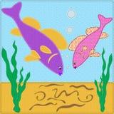Kleine Fische des Aquariers sahen Würmer Lizenzfreie Stockbilder