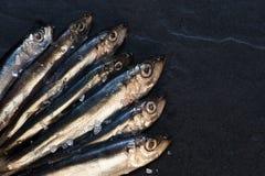 Kleine Fische mit Salz auf dem Tisch Lizenzfreie Stockbilder