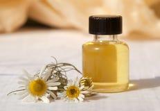 Kleine Flasche mit wesentlichem Schmieröl und Blume von camo Lizenzfreies Stockfoto