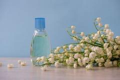 Kleine Flasche Parfüm und Blumenstrauß von Maiglöckchenblumen auf helle Farbhintergrund Parfümerie, Duft, Kosmetik lizenzfreie stockbilder