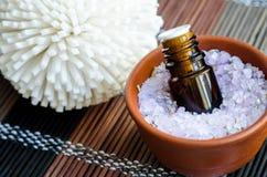 Kleine fles etherische olie in de kom met het zout van het aromabad Aromatherapy, kuuroord en kruidengeneeskundeconcept royalty-vrije stock foto's