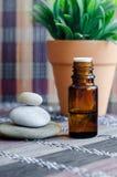 Kleine fles met etherische olie Aromatherapy, kuuroord en kruidengeneeskundeconcept stock afbeeldingen