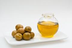 Kleine fles olijfolie Royalty-vrije Stock Fotografie
