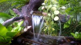 Kleine fontein in de vorm van een boom stock videobeelden