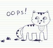 Kleine freche Katze mit schmutzigen Abdrücken Oops! lizenzfreie abbildung