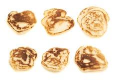 Kleine geïsoleerde pannekoeken Stock Foto's