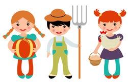 Kleine geplaatste landbouwers royalty-vrije illustratie