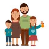 Kleine glückliche Familie Stockbilder