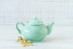 Kleine grüne Teekanne der Weinlese Lizenzfreies Stockfoto