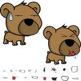 Kleine Großkopfbaby-Teddybärausdrücke eingestellt Lizenzfreie Stockfotos