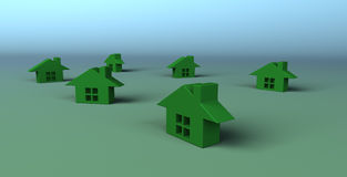 Kleine Groene Huizen Royalty-vrije Stock Fotografie