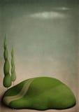 Kleine groene opheldering en weg Royalty-vrije Stock Afbeeldingen