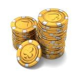 Kleine groep gouden casinospaanders op wit Stock Afbeeldingen