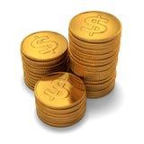 Kleine Gruppe des Golddollars prägt auf Weiß Stockfoto
