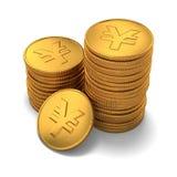 Kleine Gruppe Gold chinesischer Yuan prägt auf Weiß Stockbilder