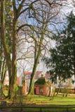 Kleine Häuser hinter Bäumen Lizenzfreies Stockfoto