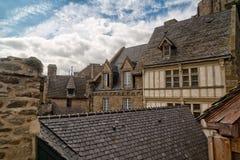 Kleine Häuser von Mont Saint Michel Stockfotografie