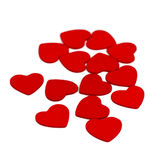 Kleine hölzerne Herzen lokalisiert auf Weiß Lizenzfreie Stockbilder