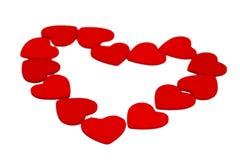 Kleine hölzerne Herzen lokalisiert auf Weiß Stockfoto