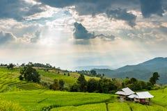 Kleine Hütte, Reisfelder und Berg an Bongpieng-Dorf Lizenzfreies Stockbild