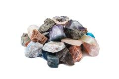 Kleine Handvoll Proben von Felsen, Mineralien Stockfotos
