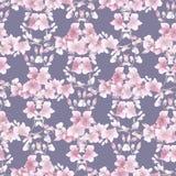 Kleine hellrosa Blumen und Niederlassungen des nahtlosen Musters auf dem grauen Hintergrund Ausführliche vektorzeichnung watercol Lizenzfreie Stockfotos