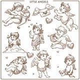Kleine het overzichts kleine engelachtige jonge geitjes van de engelen zwart-wit schets vector illustratie
