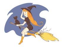 Kleine Hexe auf einem Besen Stockfotos
