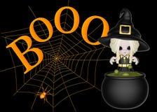 Kleine Hexe, Boo u. Spinnen-Web-Hintergrund Stockbild