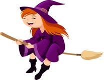 Kleine Hexe, die ihren Besen reitet vektor abbildung