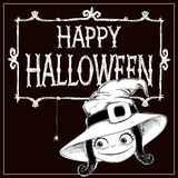 Kleine Hexe im Hut, im Rahmen und in den Buchstaben glückliches Halloween Stockbild