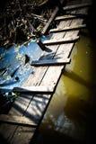 Kleine Holzbrücke Stockfoto