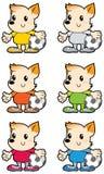 Kleine hond multicolored voetbal eenvormig met Stock Fotografie