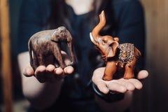 Kleine houten olifanten op vrouwelijke palmen royalty-vrije stock afbeeldingen